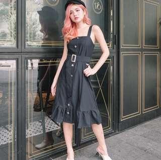 •PO• Octavia Belted Midi Dress in Black