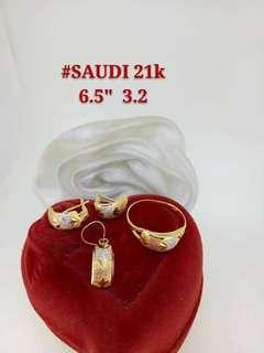 21K Saudi Gold 3.2Grams Earrings, Ring, and Pendant Set available in 4 Designs 3.2G EACH