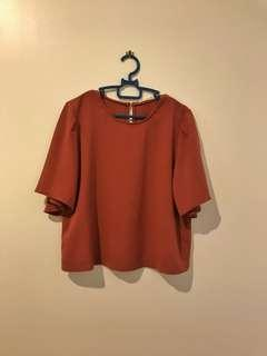 Nude Brown Top with Bell Sleeves