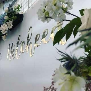 🚚 [Sellabrations] Stainless Steel Gold Mirror Finish Laser Cut Calligraphy Names Signages