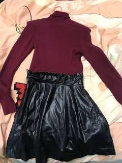 [日本shibuya109購入]假兩件紅色冷上身皮連身裙