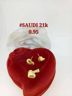 21K Saudi Gold 0.95Grams Earrings and Pendant Set Available in 4 Designs 0.95G EACH