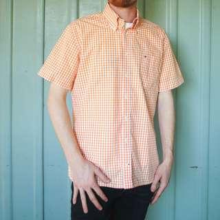 Tommy Hilfiger Checkered Orange Button Up Shirt