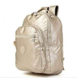Brand New Kipling Champagne Gold School Backpack Haversack Laptop Bag - Spacious & Lightweight!