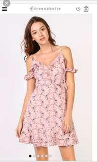 Dressabelle frill floral dress pink -  M