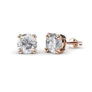 💎BN INSTOCK Lowe Solitaire Rose Gold Silver Crystals Earrings (Embellished with Crystals from Swarovski)