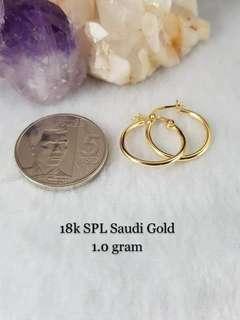 18K Saudi Gold 1.0Gram Clip Earrings