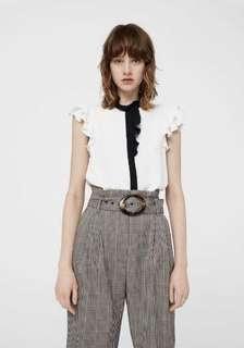 Mango white ruffle blouse with black ribbon