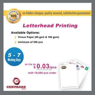 Letter head printing