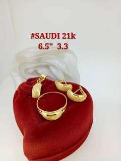 "21K Saudi Gold 3.3Grams Set (Pendant, Earrings, Ring size 6.5"")"