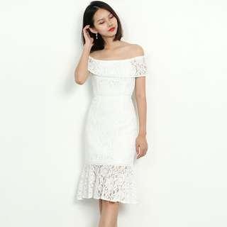 Instock Floral Crochet Off Shoulder Midi Dress