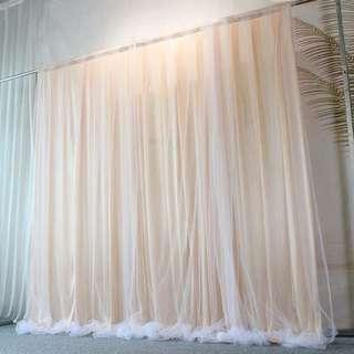 🚚 [Sellabrations] 3m x 3m Wedding Backdrop Birthday Backdrop Tulle Mesh Organza