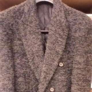 韓版麻灰雙排扣西裝式劍領大衣