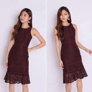 $28 TPZ Naviz Lace Midi Dress in Plum / Burgundy | INSTOCK CNY TOPAZETTE