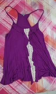 Drappy Charlotte russe purple lace top
