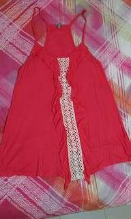 Charlotte russe coral lace drapey top