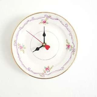 Handmade wall clock, antique English china plate clock, hand-decorated lilac ribbon and rose posies
