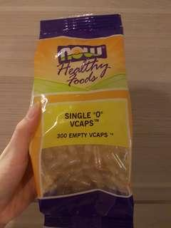 """[Instock] Now Healthy Foods Single """"0"""" Empty Vegetable Capsules"""