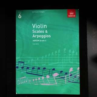 Music Book ABRSM Violin Scales & Arpeggios Grade 6 from 2012