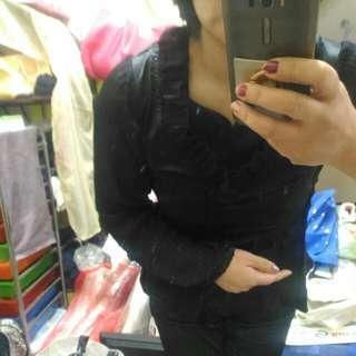 杭州女裝品牌 火爆靚佳人~超美黑紗雪紡緞面上衣