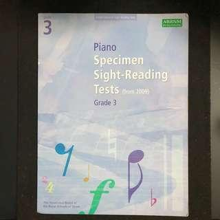 Music Book ABRSM Piano Grade 3 Specimen Sight Tests from 2009