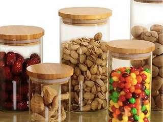 Glass jars cookies cny goodies airtight silicone rubber bamboo lid