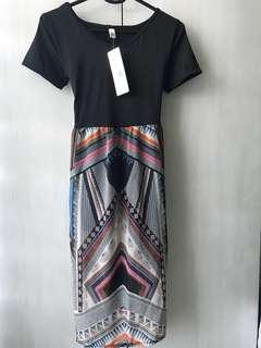 Black dress with prints