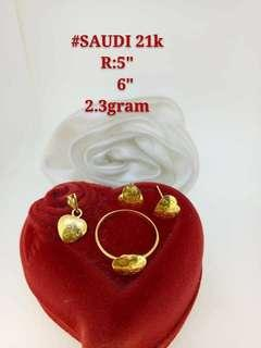 21K Saudi Gold 2.3Grams Set (Earrings, Pendant, Ring size:see photos) Available in 2 Designs 2.3G EACH