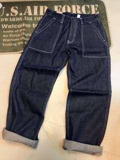 🚚 特製加厚版牛仔布軍款大口袋直筒/深藍原色版/現貨新品S一件