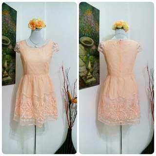 Peach Chiffon Mini Dress
