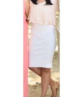 Forever 21 Knee Length White High Waist Ribbed Skirt