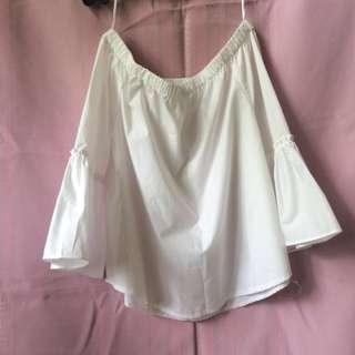 Bell Sleeves Off-Shoulder White Top