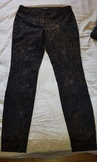 Flower patterned black pants