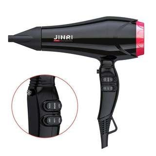 0100_JINRI Long Cord Salon Grade Professional Hairdryer 2000W Powerful Negative Ionic Hair Dryer 2 Speed and 3 Heat Setting with Concentrator Nozzle, Black/Pink