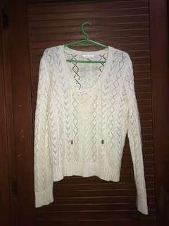 Forever 21 F21 Knitted Sweater white ith tie detail