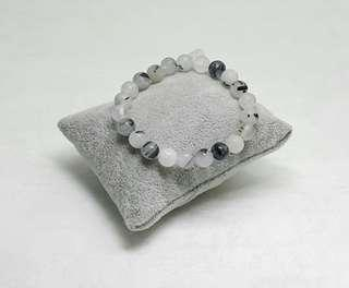 Black Rutilated Quartz Elastic Bracelet