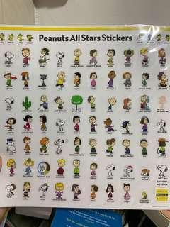 Peanuts all stars stickers