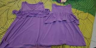 Dress Kembar Ruffle Ungu