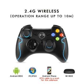 0101_EasySMX 2.4G Wireless Controller for PS3, PC Gamepads with Vibration Fire Button Range up to 10m Support PC (Windows XP/7/8/8.1/10), PS3, Android, Vista, TV Box Portable Gaming Joystick Handle