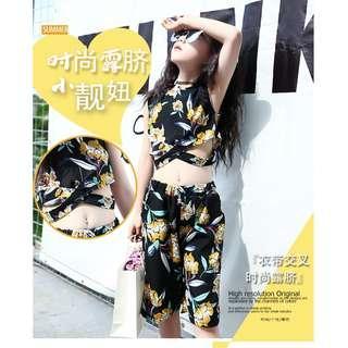 Korean Girls Top and Pants Floral Summer Suit Black