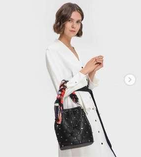 CHARLES & KEITH EMBELLISHED QUILTED BUCKET BAG