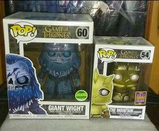 """(ON HAND) Giant Wight 6"""" & The Mountain Armoured Game of Thrones Funko Pop Bundle"""