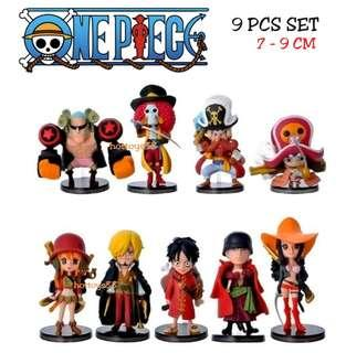 ONE PIECE FIGURES 9 PCS SET LUFFY ZORO NAMI BROOK CHOPPER ROBIN SANJI FRANKY USOPP ACTION FIGURES TOY