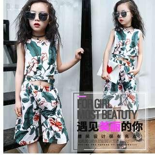 Korean Girls Top and Pants Floral Summer Suit White