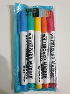 5 Coloured whiteboard markers