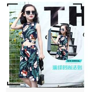 Korean Girls Top and Pants Floral Summer Suit Green