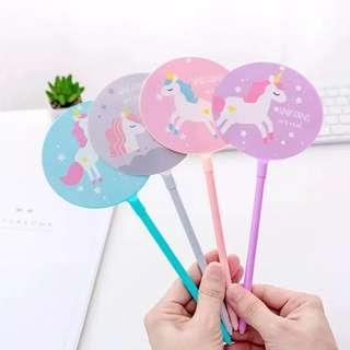 pulpen bentuk kipas lucu ukuran besar motif unicorn