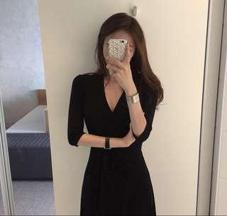 Self Wrap Midi Black Dress