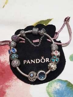 Pandora Charm Bracelet with 12 charms.