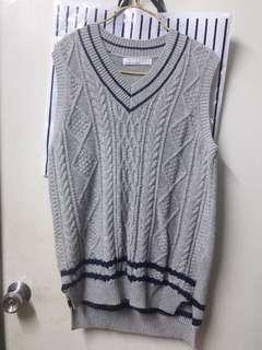 韓國灰色V領背心冷衫